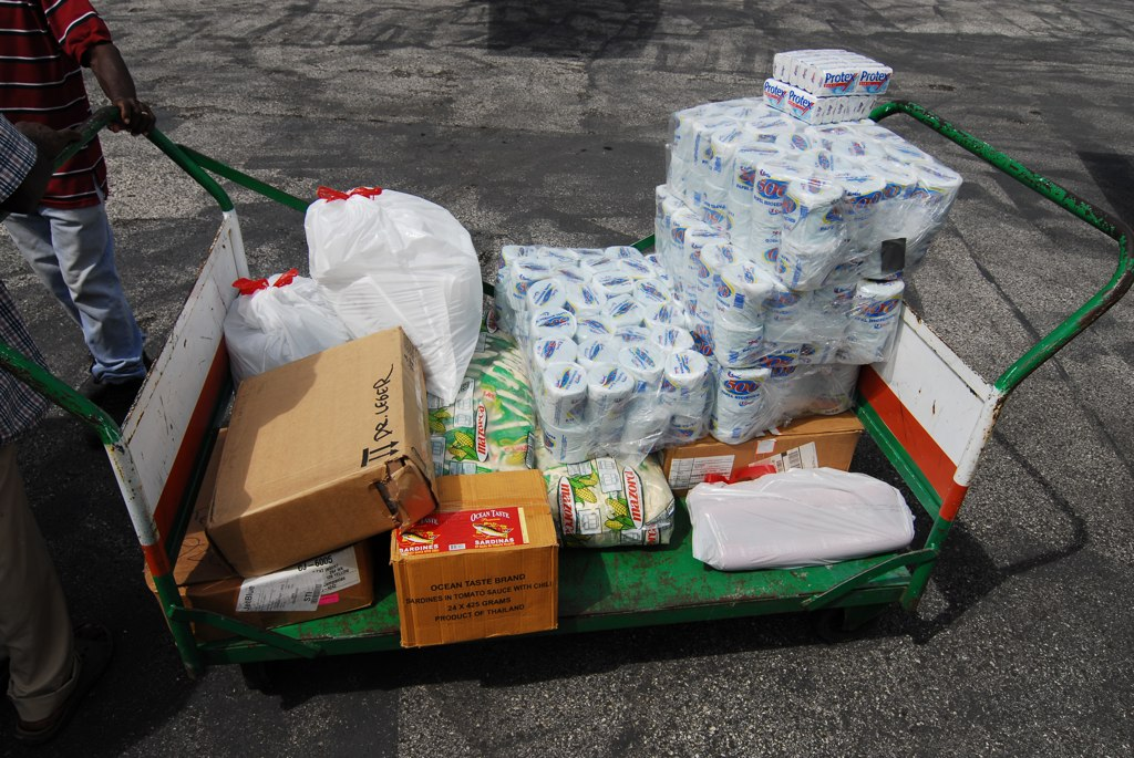 x-ray film, corn meal, sardines, med supplies, tp, pasta, salami haiti relief photo