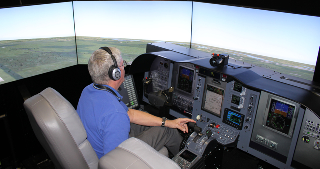 Chuck Hosmer, a Proflight instructor, flying the Next Gen CJ3 FTD