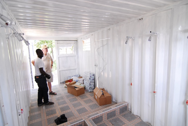 Shipping container converted to a bathroom