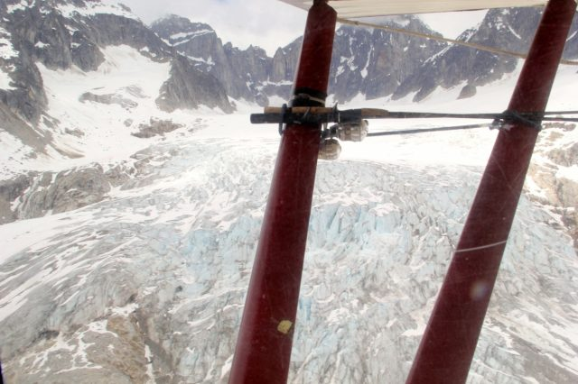 Flying Up the Glacier - Fishing Poles Ready
