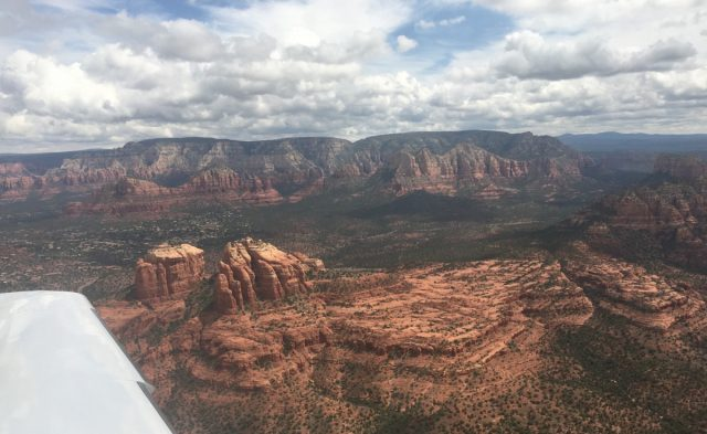 Aerial view approaching Sedona KSEZ from the west
