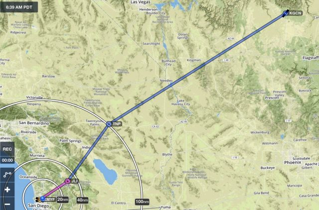 Montgomery (KMYF) to Grand Canyon (KGCN) Route