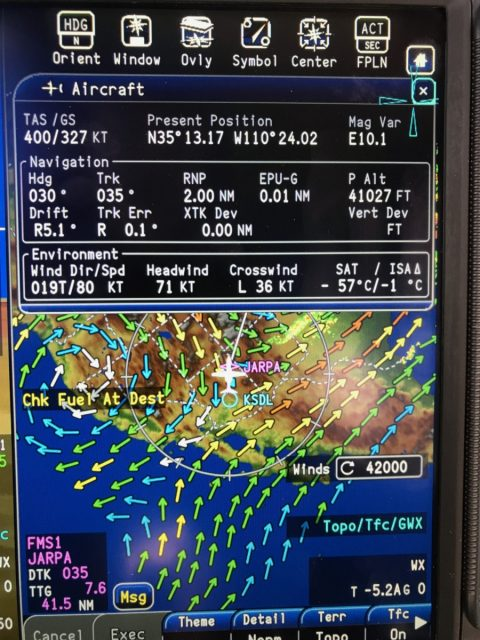 You can concurrently display calculated Aircraft data and XM Winds Aloft