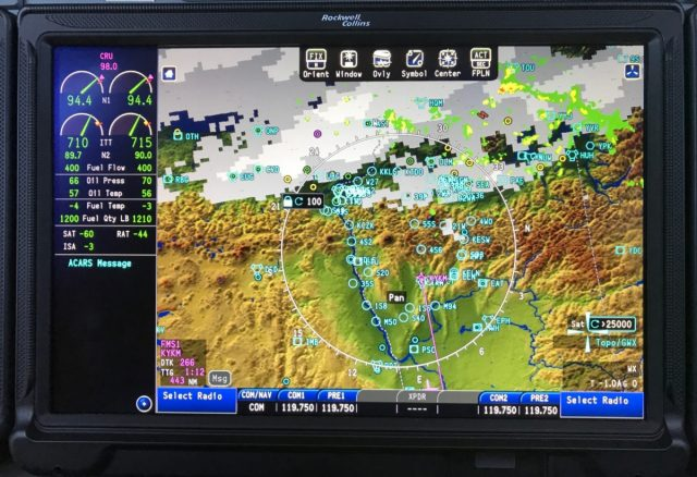 CJ3 Fusion - MFD Showing COM Frequency Selections at the bottom