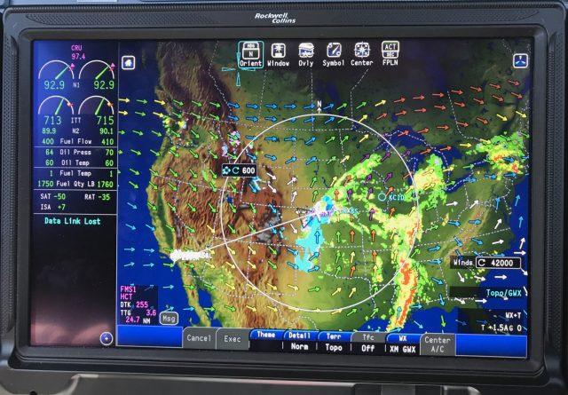 MFD Satellite Weather - Winds Aloft, NEXRAD.