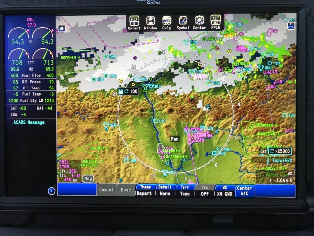 MFD with multiple weather overlays and Departure Theme