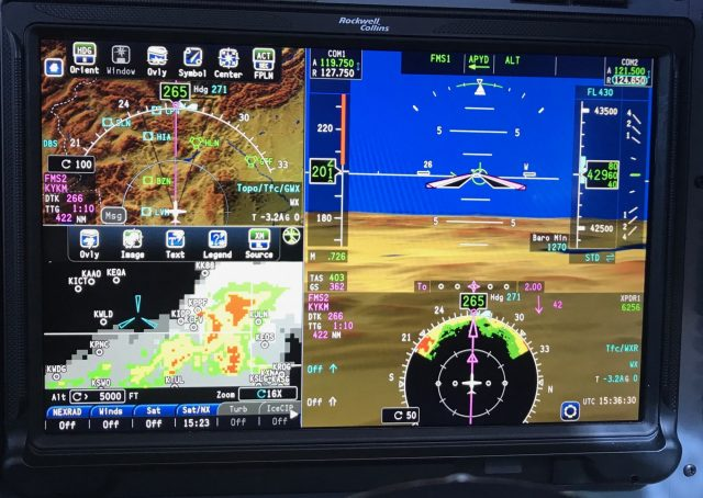 Simultaneously displaying Map, NEXRAD, Satellite, and onboard Radar on the PFD.