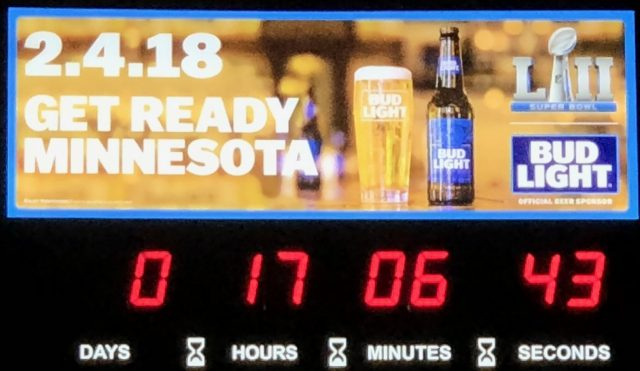 The Super Bowl Clock countdown - only 17 hours to go!