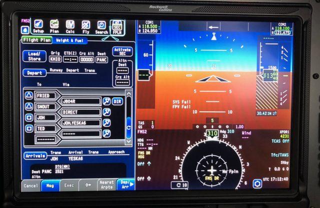 Loading the second flight plan - KHIO PANC - through the ARINC Direct app.